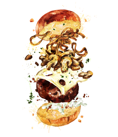 cook out: Swiss mushroom burger. Watercolor Illustration. Stock Photo