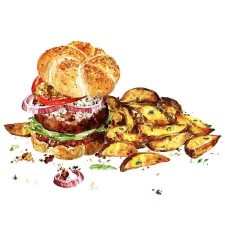 Hamburger di angus con spicchi di patate. Illustrazione ad acquerello Archivio Fotografico - 83342006