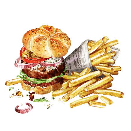 Hamburger di Angus con patatine fritte. Illustrazione di acquerello. Archivio Fotografico - 83342009