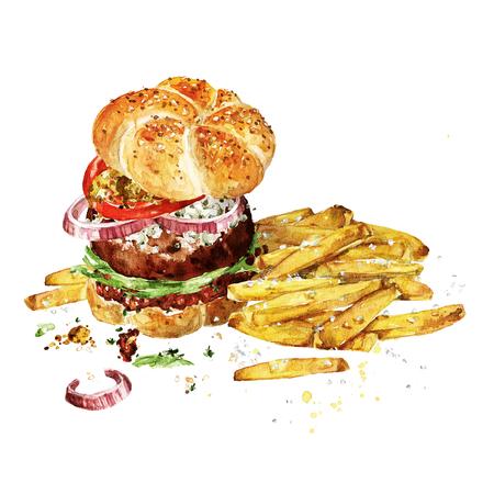 アンガス ビーフ バーガーとフライド ポテト。水彩イラスト。 写真素材