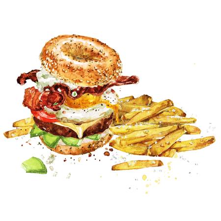 フライド ポテトとハンバーガーで朝食。水彩イラスト。