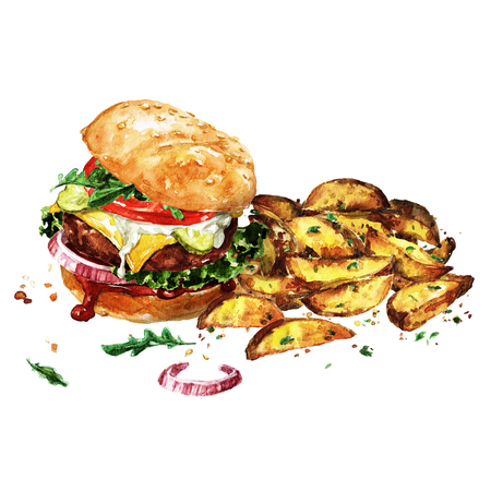 Traditional hamburger with potato wedges. Watercolor Illustration.