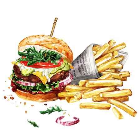 Traditionele hamburger met frieten. Waterverf Illustratie. Stockfoto