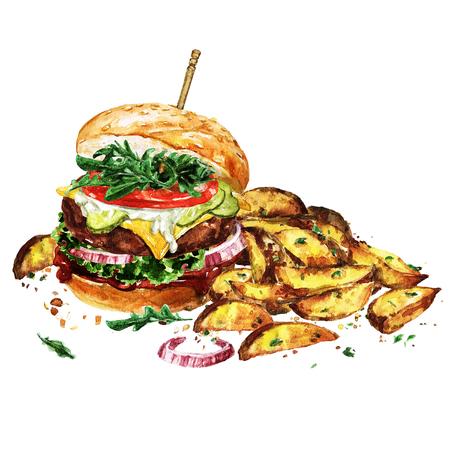 감자 웨지와 함께 전통적인 햄버거입니다. 수채화 그림입니다.