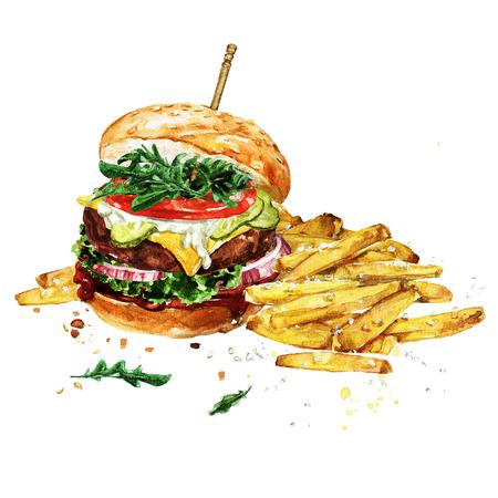 튀김과 함께 전통적인 햄버거입니다. 수채화 그림입니다. 스톡 콘텐츠