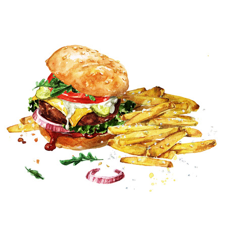 Traditional hamburger with fries. Watercolor Illustration.