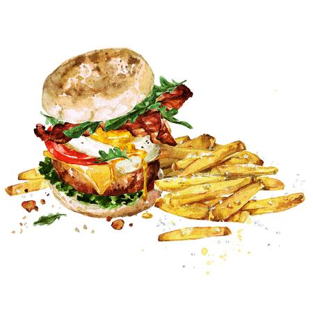 Hamburger per la colazione con patatine fritte. Illustrazione ad acquerello Archivio Fotografico - 83342026