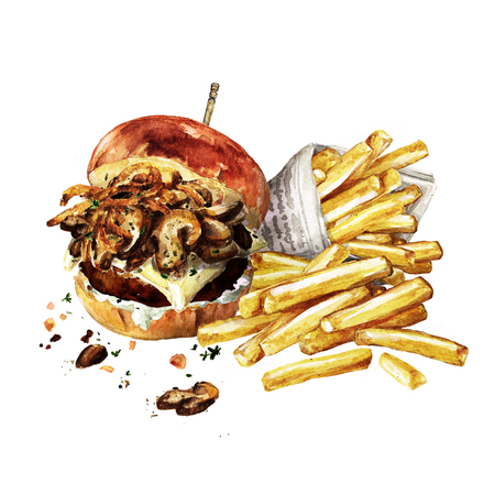 Swiss mushroom burger with fries. Watercolor Illustration.