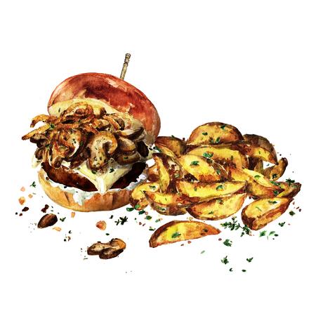 Zwitserse Champignonsburger Met Aardappelwiggen. Waterverf Illustratie. Stockfoto