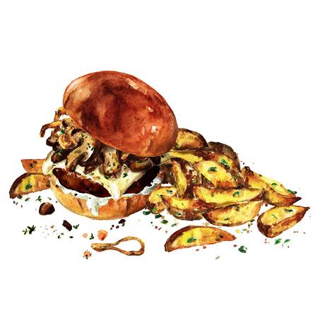 감자 웨지와 함께 스위스 버섯 햄버거입니다. 수채화 그림입니다.