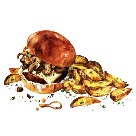 Swiss mushroom burger with potato wedges. Watercolor Illustration.