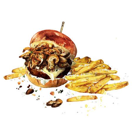 Swiss mushroom burger with fries. Watercolor Illustration.