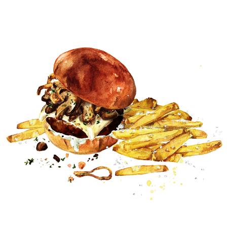 스위스 버섯 햄버거와 감자 튀김입니다. 수채화 그림입니다.