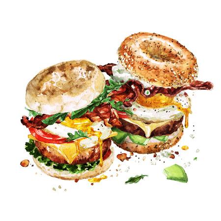 朝食のハンバーガー。水彩イラスト。