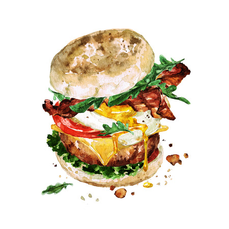 Ontbijtburger. Waterverf Illustratie. Stockfoto - 83342057