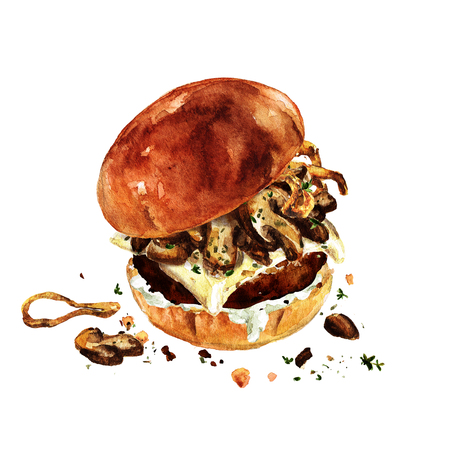 Swiss mushroom burger. Watercolor Illustration. Stock Photo