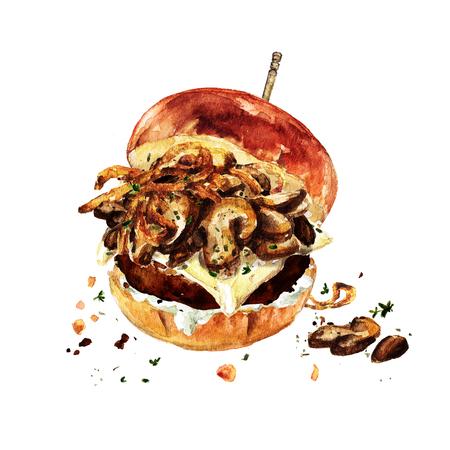 Zwitserse Champignonsburger. Waterverf Illustratie. Stockfoto