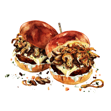 スイスのきのこハンバーガー。水彩イラスト。