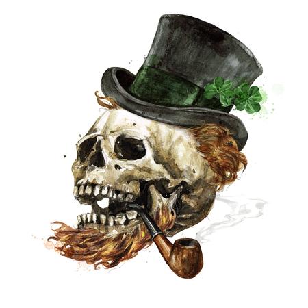 Leprechaun Skull. Watercolor Illustration