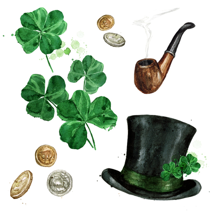 Shamrock, Coins, Smoking Pipe and a Top Hat. Watercolor Illustration