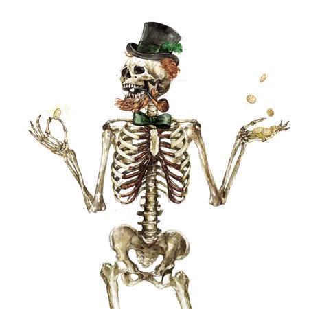 Leprechaun Skeleton. Watercolor Illustration