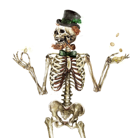 Leprechaun Skeleton. Watercolor Illustration