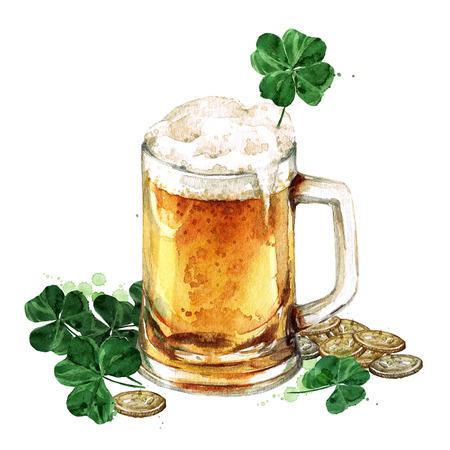 Beer Mug with Lucky Shamrock. Watercolor Illustration Foto de archivo - 97951970