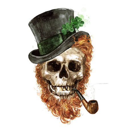 Leprechaun Skull. Watercolor Illustration