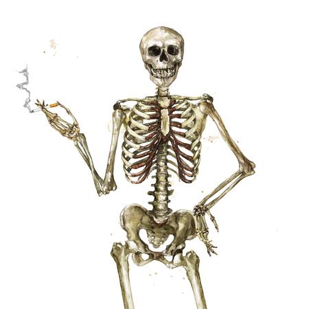 タバコを持つ人間の骨格。水彩画。