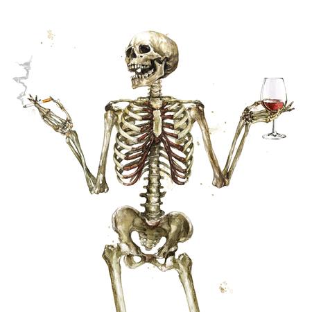 タバコとワインを持つ人間の骨格。水彩画。 写真素材