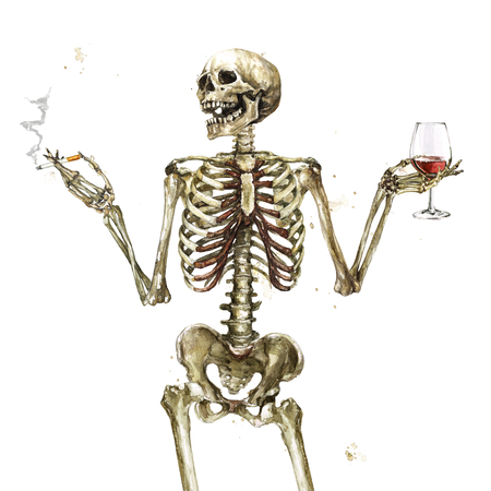 Human Skeleton holding cigarette and wine. Watercolor Illustration. Banque d'images - 97766704