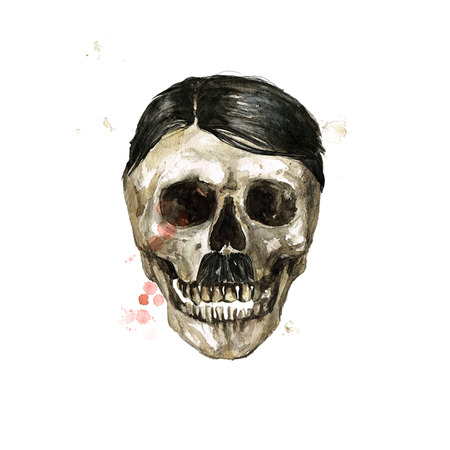 Crâne masculin. Illustration aquarelle.