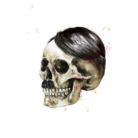 Male Skull. Watercolor Illustration. 版權商用圖片