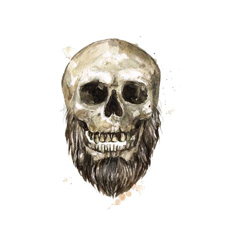 Male Skull. Watercolor Illustration. Archivio Fotografico - 97766719