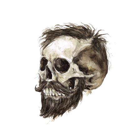 남성 해골. 수채화 그림. 스톡 콘텐츠 - 97766718