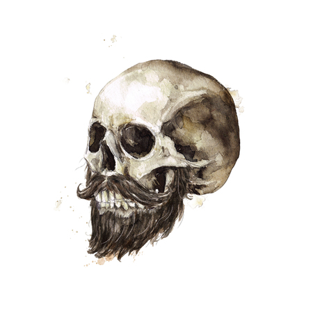 Male Skull. Watercolor Illustration. Stock Photo