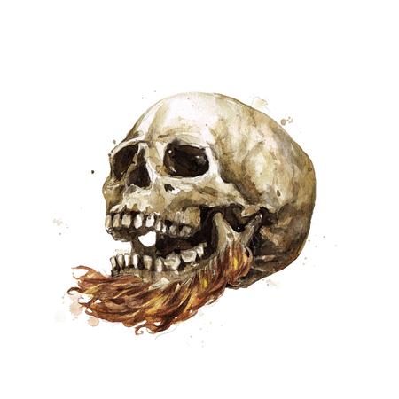 Male Skull. Watercolor Illustration. Stock Photo