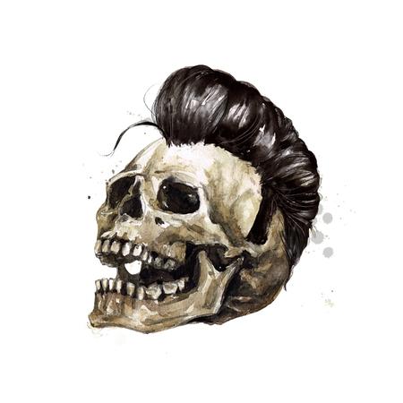 남성 해골. 수채화 그림. 스톡 콘텐츠 - 97766755