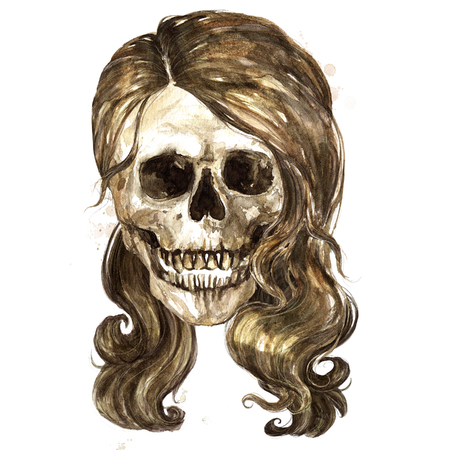 Female Skull. Watercolor Illustration. Stock Photo