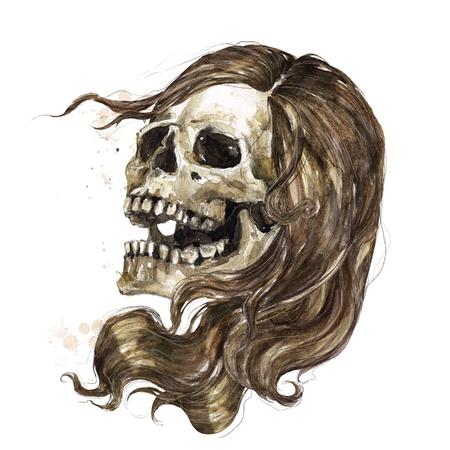 Human Skull - Female. Watercolor Illustration. 스톡 콘텐츠