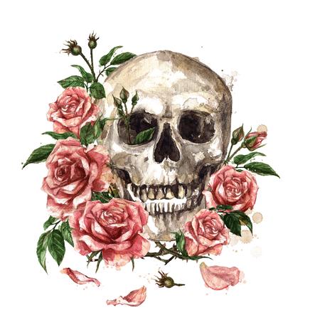 꽃으로 둘러싸인 인간의 두개골입니다. 수채화 그림.