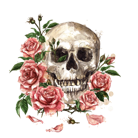 Human Skull surrounded by Flowers. Watercolor Illustration. Stockfoto