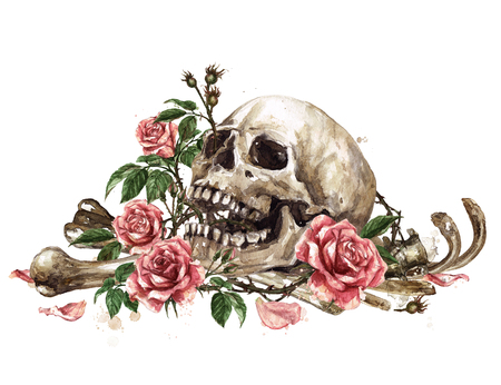 Human Skull surrounded by Flowers. Watercolor Illustration. 스톡 콘텐츠