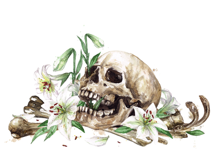 Human Skull surrounded by Flowers. Watercolor Illustration. Stock Photo