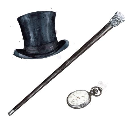 Gentlemen Accessories. Watercolor Illustration. Stockfoto - 97766726