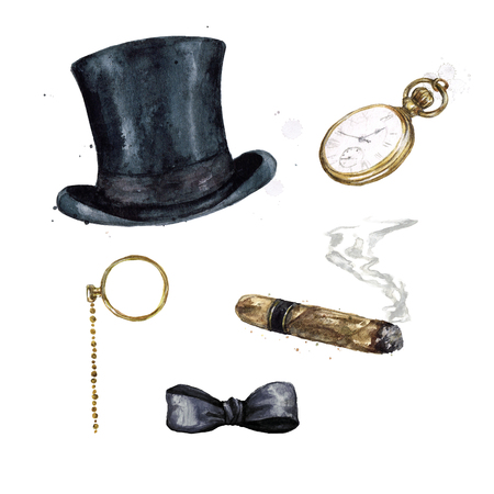 Gentlemen Accessories. Watercolor Illustration. Archivio Fotografico - 97766724