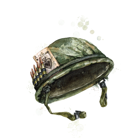 Soldier Hat. Watercolor Illustration.