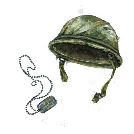 Chapeau de soldat. Illustration aquarelle.