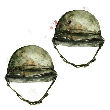 Soldier Hat. Watercolor Illustration.