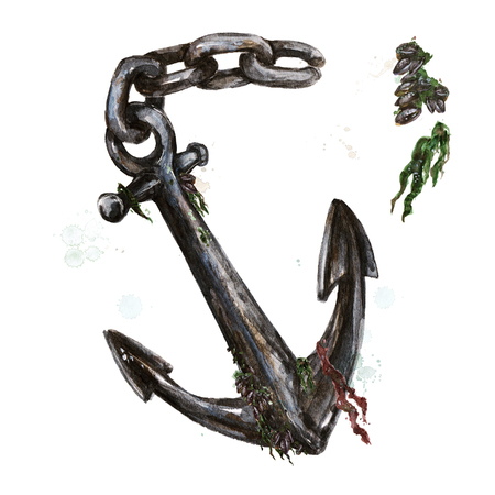 Anchor covered in seaweed. Watercolor Illustration. Stock Photo
